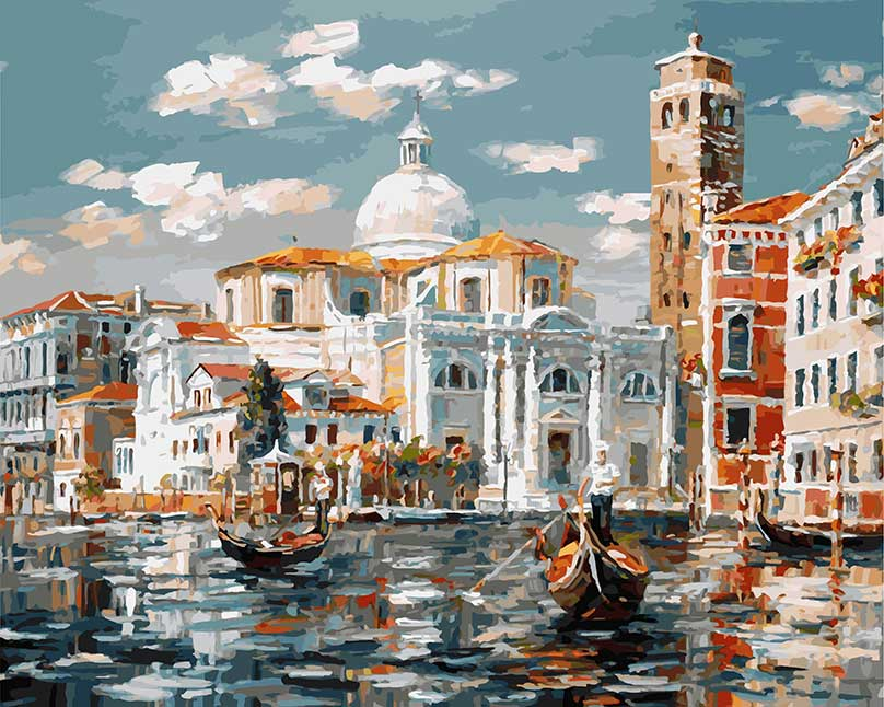 Живопись на холсте Венеция. Церковь Сан Джеремия, 40 х 50 см живопись на картоне белоснежка гранд канал венеция 30 х 40 см