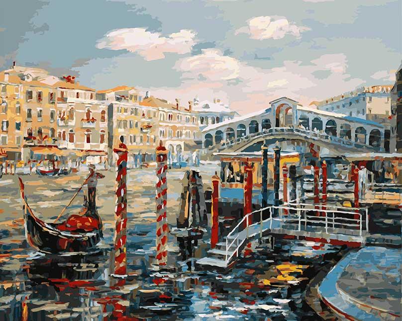 Живопись на холсте Белоснежка Венеция. Мост Риальто, 40 х 50 см живопись на картоне белоснежка гранд канал венеция 30 х 40 см