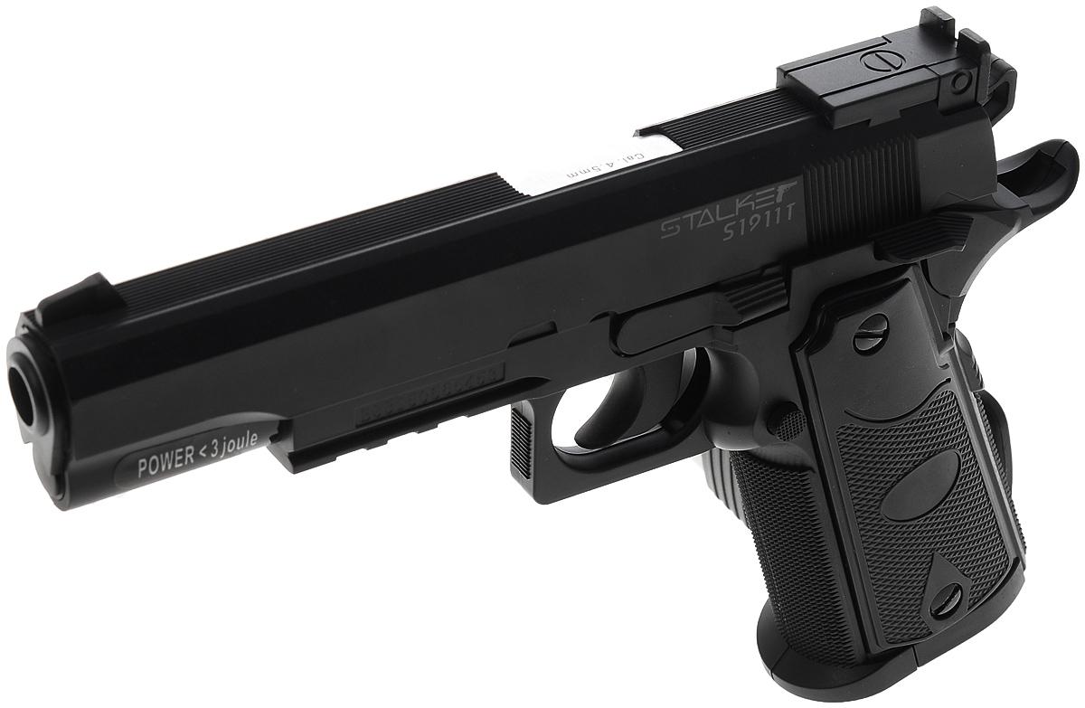 """Пистолет пневматический Stalker """"S1911T"""", цвет: черный"""