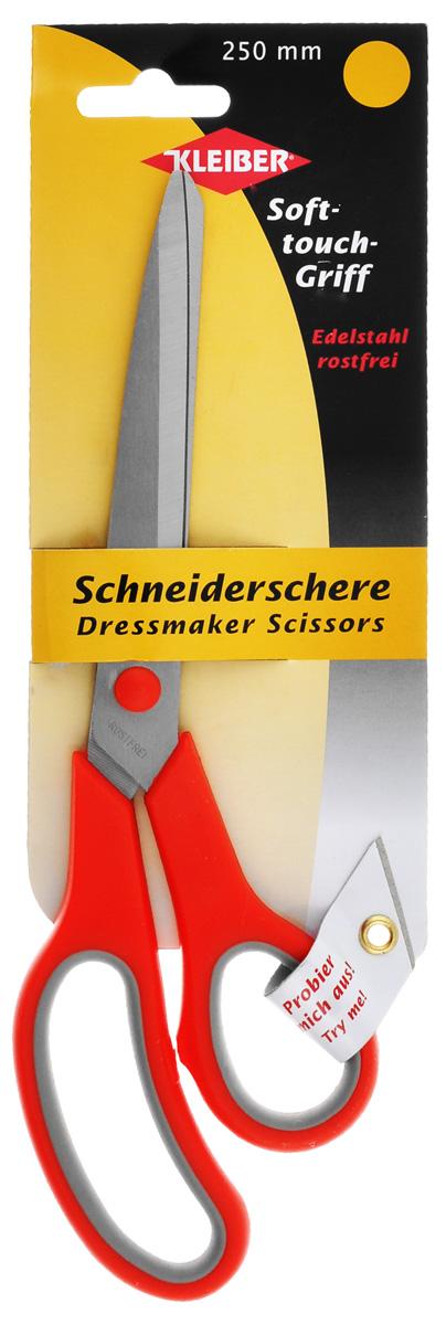 Ножницы портновские Kleiber Мягкий контакт, цвет: красный, серый, длина 25 см эконом свет 1076 3sn wt
