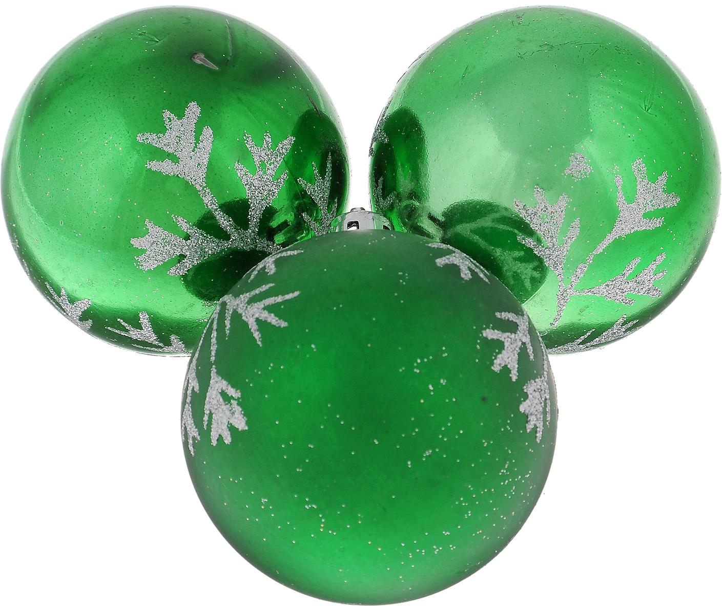 Фото - Набор новогодних подвесных украшений EuroHouse Веточки, цвет: зеленый, серебристый, диаметр 6 см, 3 шт набор новогодних украшений 1 м 3 шт красный