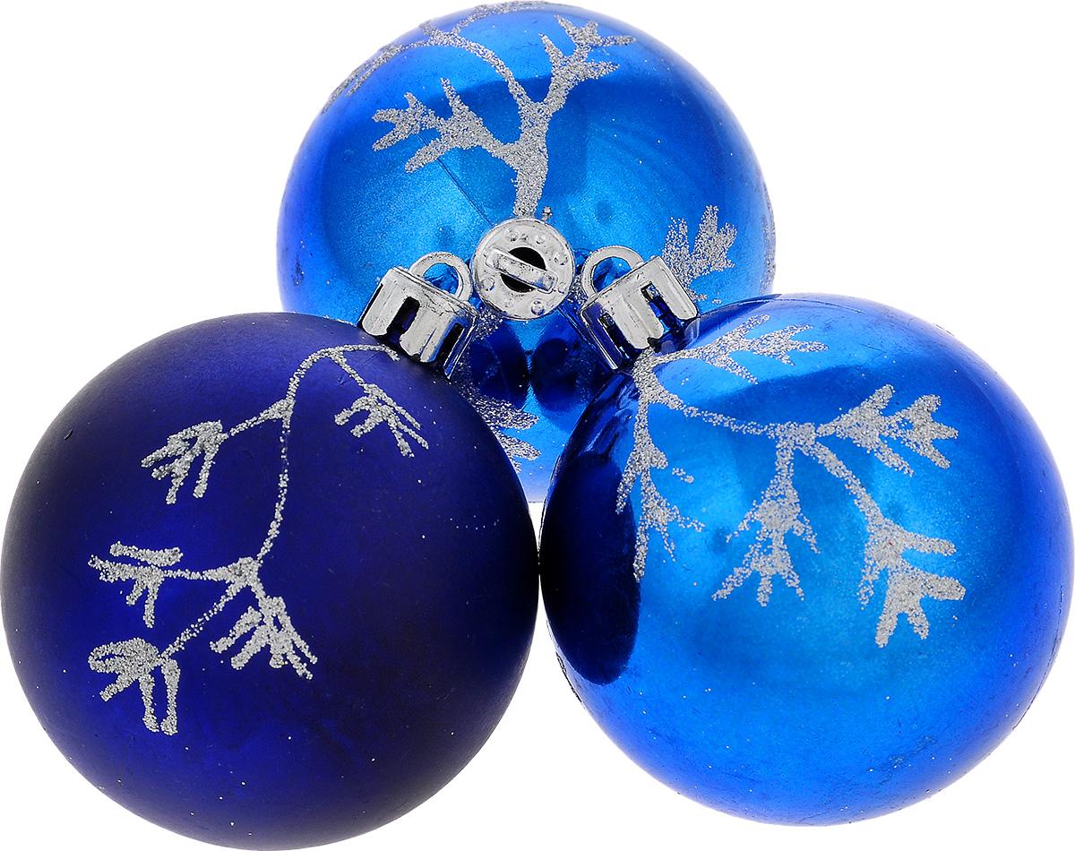 Фото - Набор новогодних подвесных украшений EuroHouse Веточки, цвет: синий, серебристый, диаметр 6 см, 3 шт набор новогодних украшений 1 м 3 шт красный