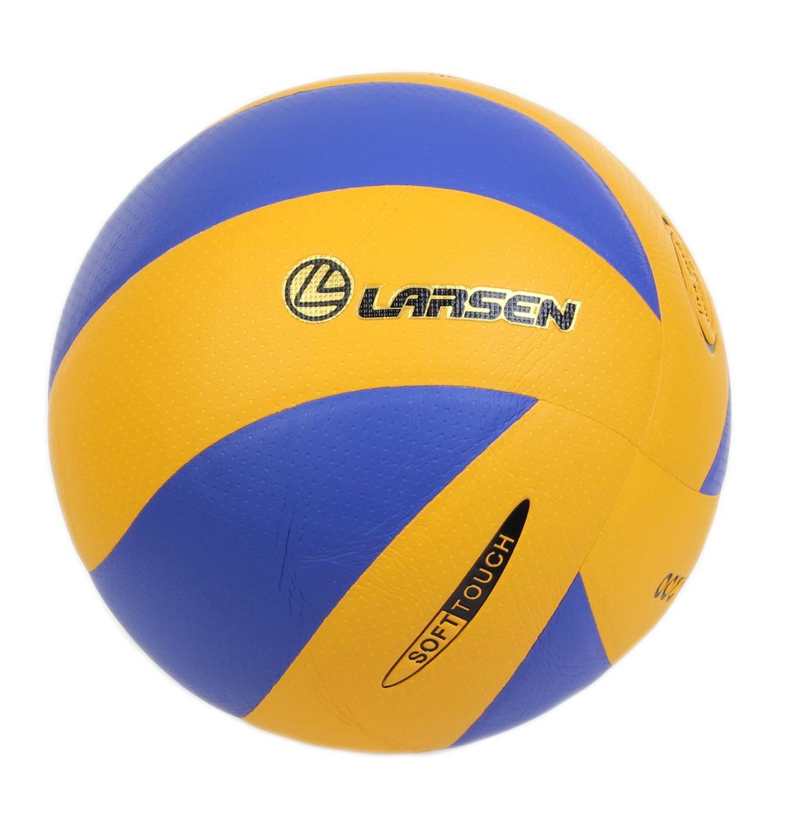 Мяч волейбольный Viva Larsen, цвет: желтый, синий. Размер 4 мяч волейбольный larsen kicker tip