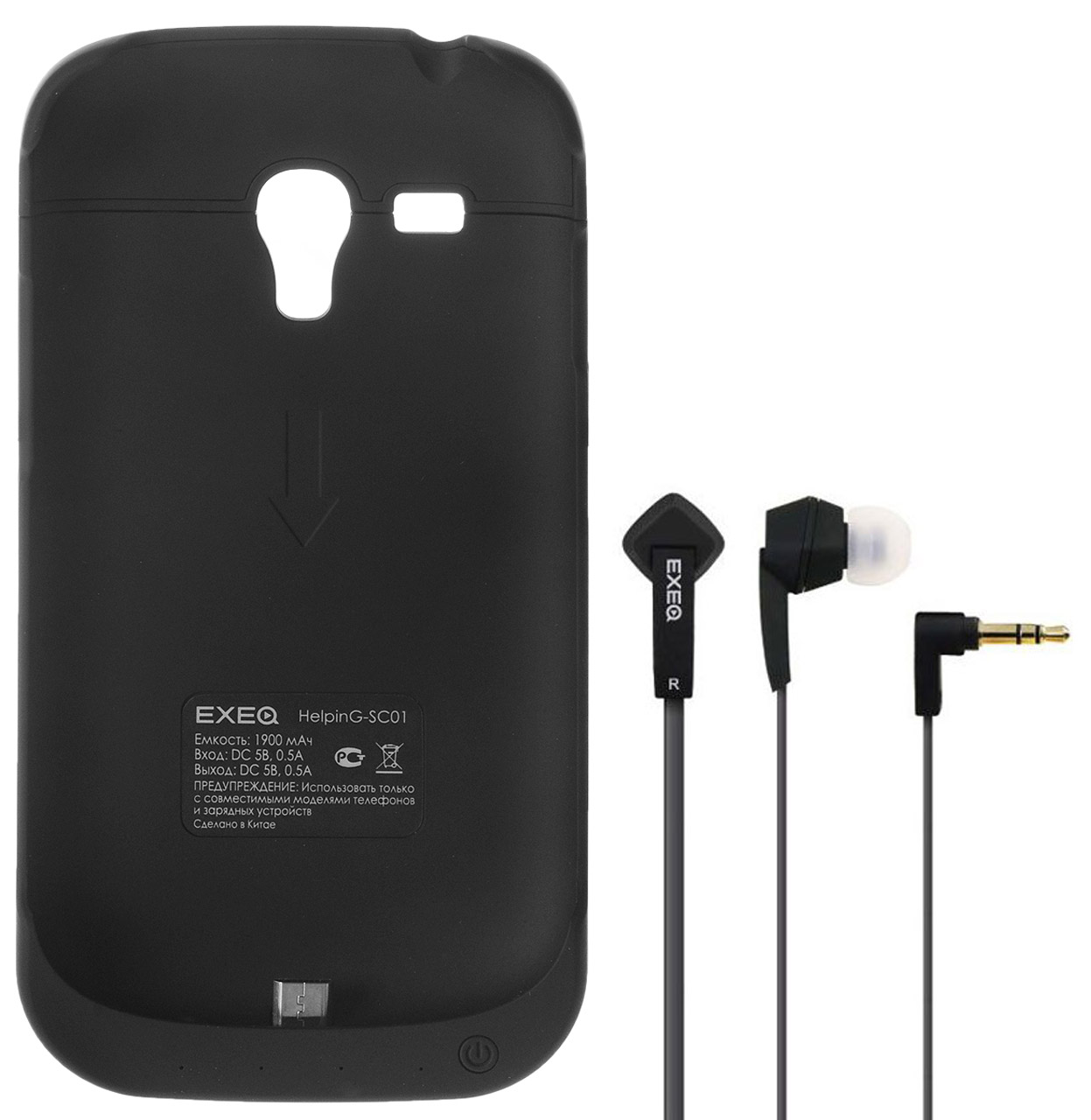 EXEQ HelpinG-SC01 чехол-аккумулятор для Samsung Galaxy S3 mini, Black (1900 мАч, клип-кейс) чехол аккумулятор helping ic01 черный 1900 мач