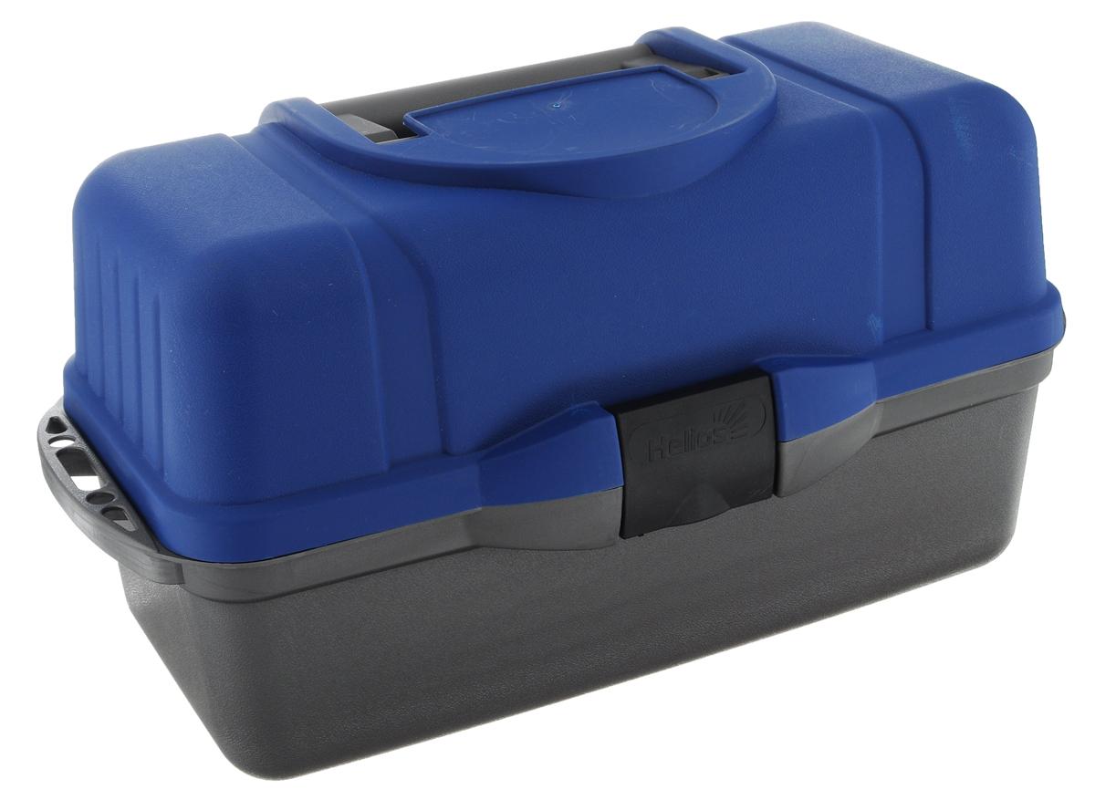 Ящик рыболова Helios, трехполочный, цвет: синий, серый