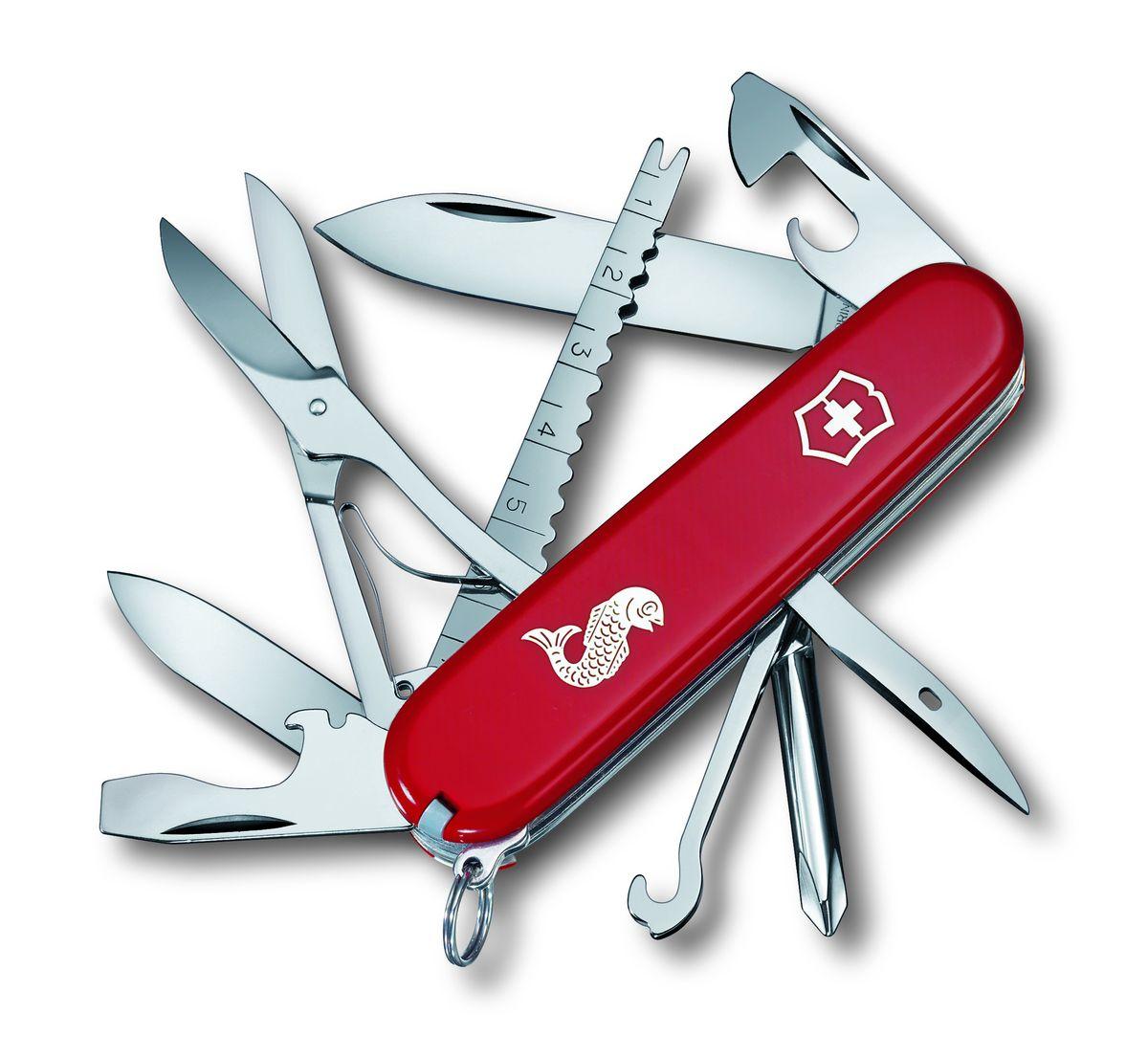 """Нож перочинный Victorinox """"Fisherman 1.4733.72"""", цвет: красный, длина клинка 67 мм"""
