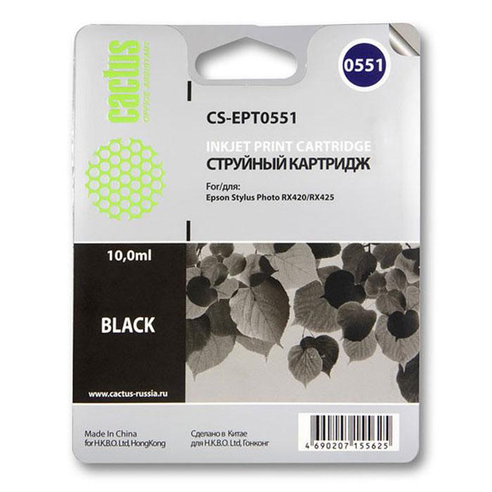 Фото - Картридж Cactus CS-EPT0551, черный, для струйного принтера картридж cactus cs ept0554 для epson stylus rx520 r240 желтый 350стр