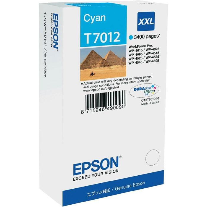 Картридж Epson T7012, голубой, для струйного принтера, оригинал