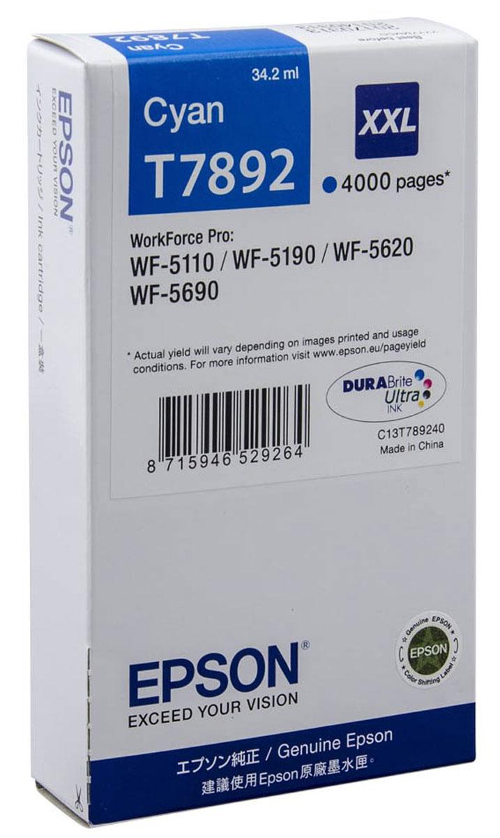 Картридж Epson T7892, голубой, для струйного принтера, оригинал