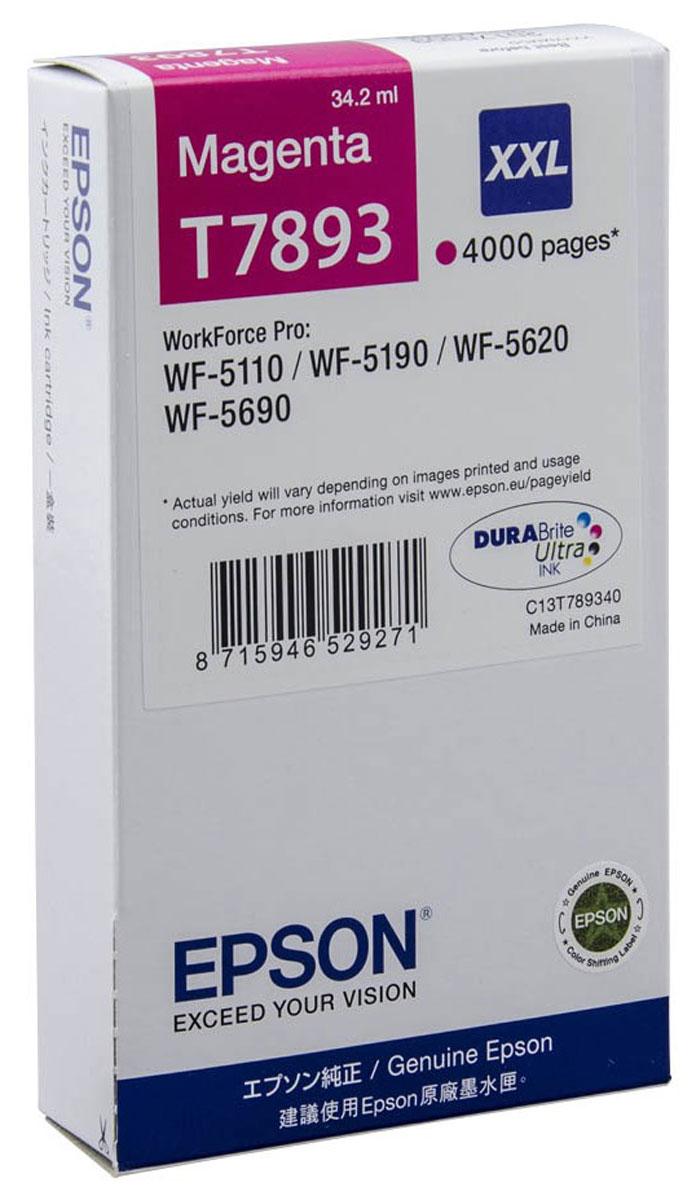 Картридж Epson T7893, пурпурный, для струйного принтера, оригинал