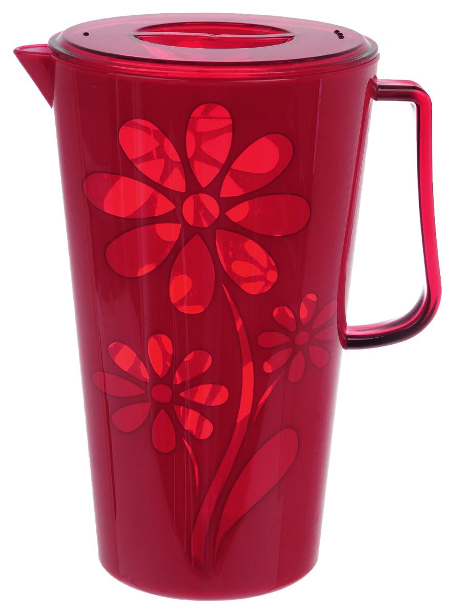 Кувшин Альтернатива Соблазн, с крышкой, цвет: красный, 2,5 л чаша альтернатива соблазн цвет красный 1 7 л