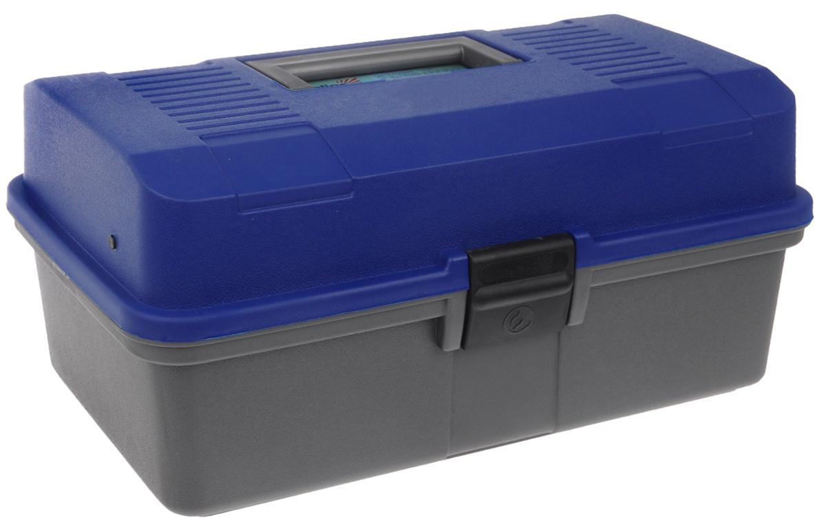 Ящик рыболова Helios, цвет: синий, серый, 34 см х 20 см х 16 см