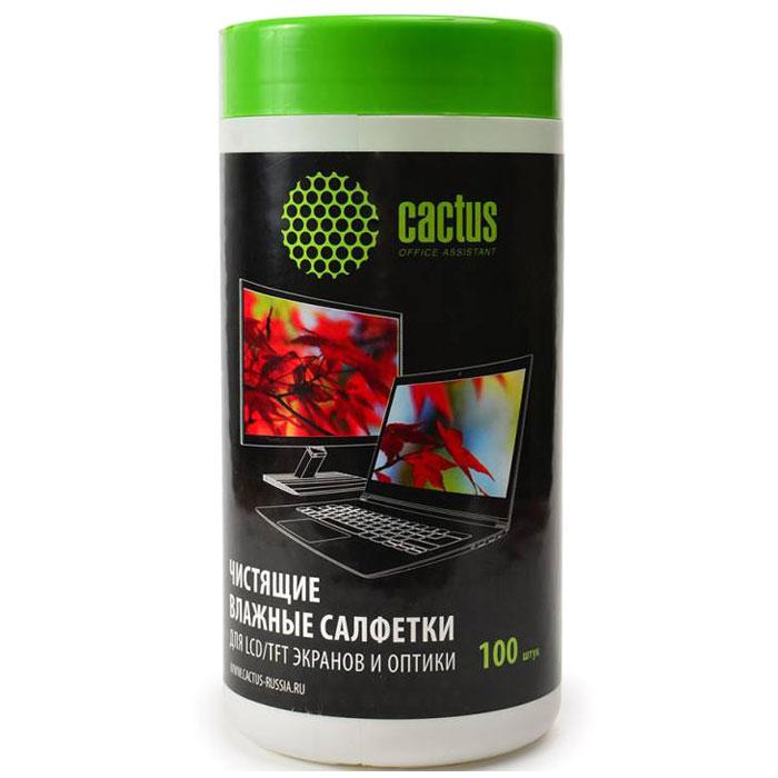 Cactus CS-T1001 влажные салфетки для экранов и оптики, 100 шт чистящие салфетки cactus cs t1001 для экранов и оптики туба 100шт