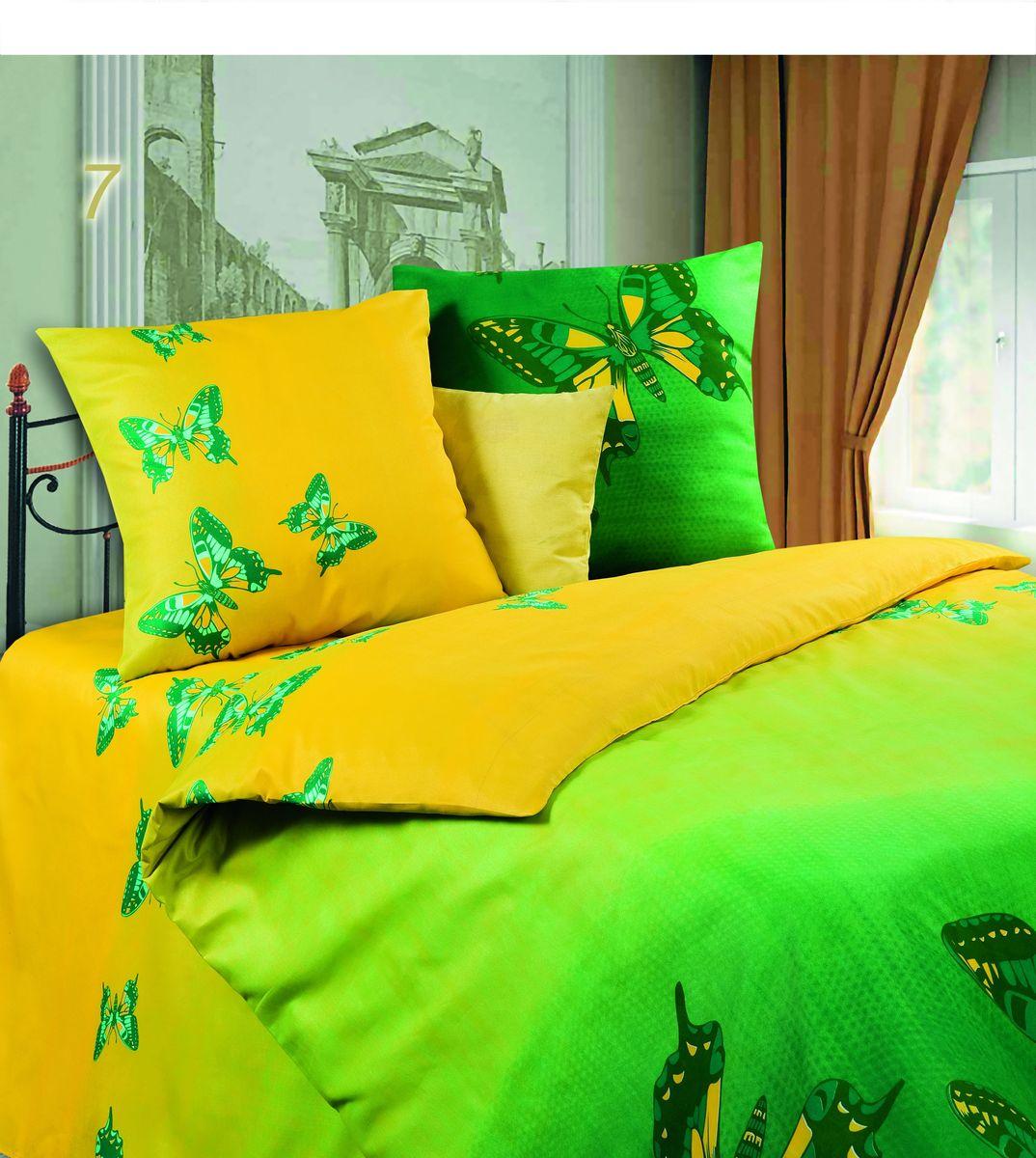 Комплект белья Диана Мгновение, семейный, наволочки 70х70, цвет: желтый, зеленый. PW-7-143-220-69PW-7-143-220-69Комплект постельного белья Диана Мгновение, изготовленный из микрофибры, поможет вам расслабиться и подарит спокойный сон. Ткань микрофибра - новая технология в производстве постельного белья. Тонкие волокна, используемые в ткани, производят путем переработки полиамида и полиэстера. Такая нить не впитывает влагу, как хлопок, а пропускает ее через себя, и влага быстро испаряется. Ткань не деформируется и хорошо держит форму, не скатывается, быстро высыхает и устойчива к световому воздействию. Изделия не мнутся и хорошо сохраняют первоначальную форму. Постельное белье оформлено изображением бабочек, имеет изысканный внешний вид и обладает яркостью и сочностью цвета. Комплект состоит из двух пододеяльников, простыни и двух наволочек. Благодаря такому комплекту постельного белья вы сможете создать атмосферу уюта и комфорта в вашей спальне. Рекомендуем!