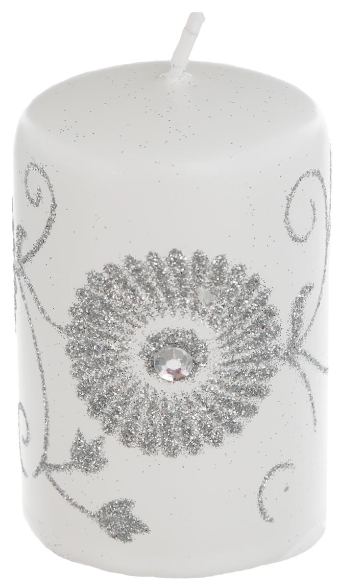 Свеча Winter Wings Зимний цветок, цвет: белый, серебристый, высота 8 см сувенир цветок