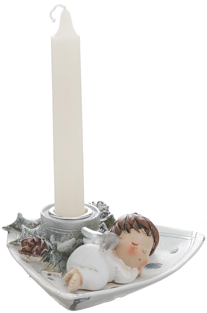 Новогодний декоративный подсвечник Winter Wings Ангелочек, со свечой, 13 х 13 х 4,5 см подсвечник winter wings снеговик с цветком 11х7х11 см n160491