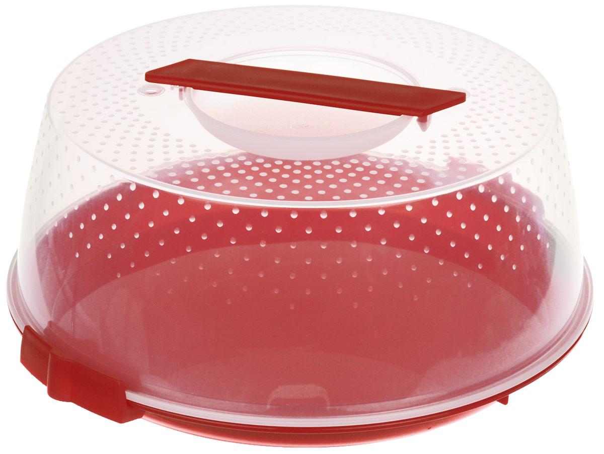 Тортница Cosmoplast Оазис, цвет: красный, прозрачный, диаметр 28 см тортница cosmoplast оазис цвет красный прозрачный диаметр 28 см