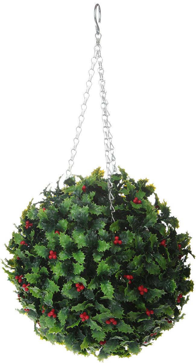 цена на Искусственное растение Gardman Topiary Ball. Омела, цвет: зеленый, красный, диаметр 26 см