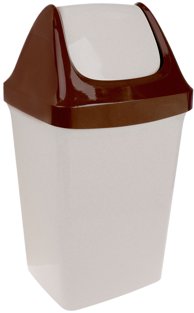 Контейнер для мусора Idea Свинг, цвет: светло-бежевый, коричневый, 25 л контейнер для мусора idea хапс цвет коричневый мрамор 15 л