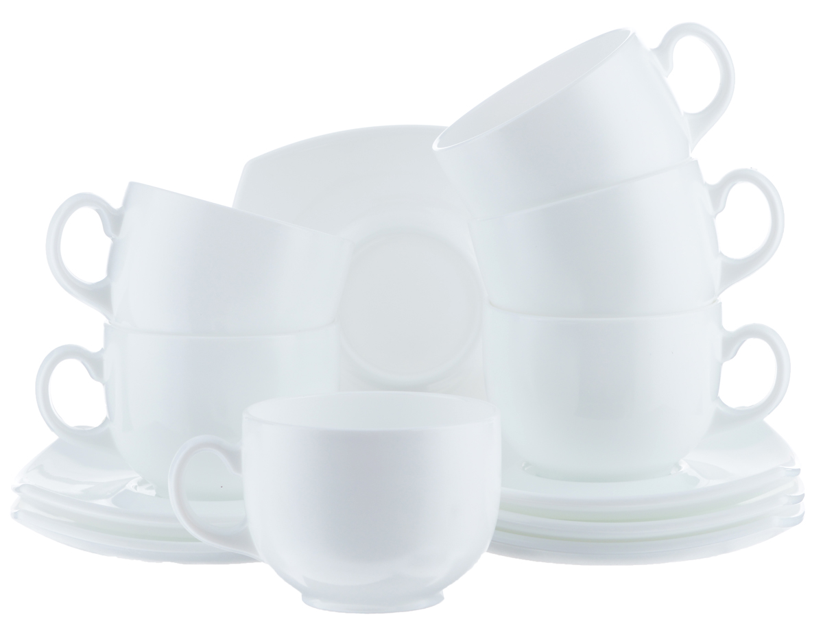 Набор чайный Luminarc Quadrato, цвет: белый, 12 предметов Уцененный товар (№7)