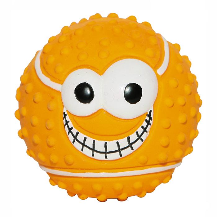 Игрушка для собак Ziver Мяч. Веселый теннис, с пищалкой, цвет: оранжевый, диаметр 7,5 см