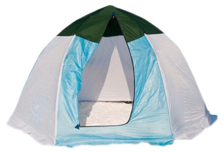 цена на Палатка рыбака 3-м п/автомат брезент, Стэк, белый/голубой
