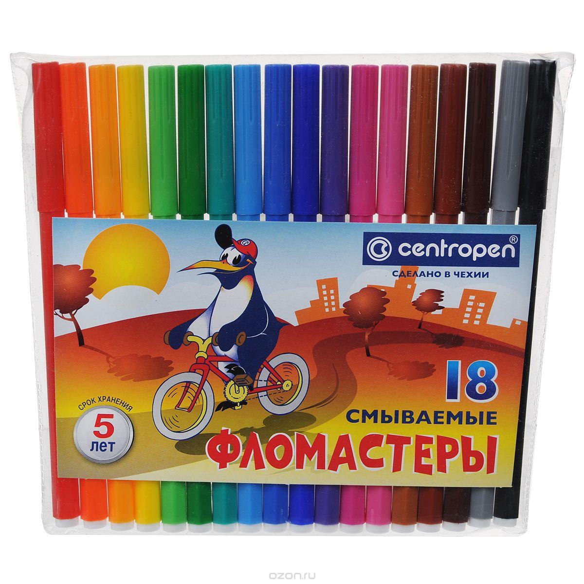 Фото - Centropen Набор фломастеров Пингвины 18 цветов centropen набор смываемых фломастеров colour world 18 цветов