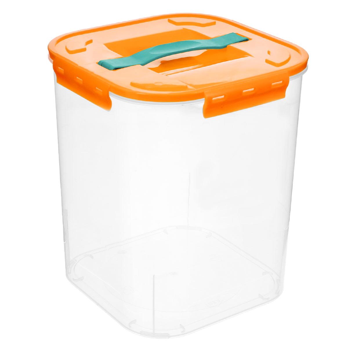 Контейнер для хранения Idea, цвет: оранжевый, прозрачный, 10 л контейнер для хранения idea прямоугольный цвет салатовый прозрачный 8 5 л