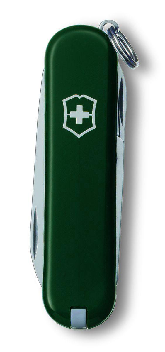 "Нож-брелок Victorinox ""Classic SD"", цвет: зеленый, 7 функций, 5,8 см"