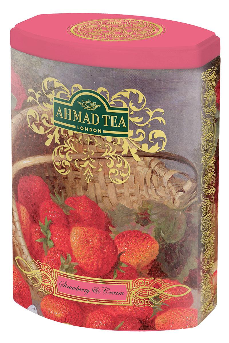 Ahmad Tea Strawberry and Cream черный листовой чай, 100 г (ж/б) цена