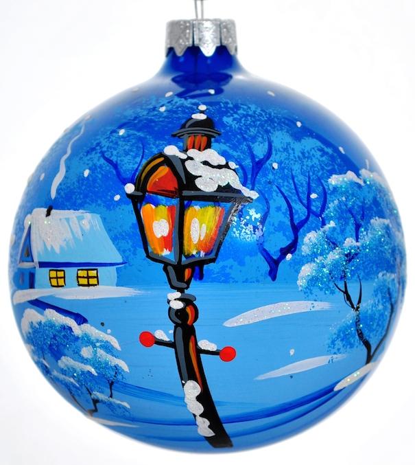 Новогоднее подвесное украшение Фонарь, цвет: синий. Ручная роспись. Россия декоративное подвесное украшение home queen народная роспись цвет красный