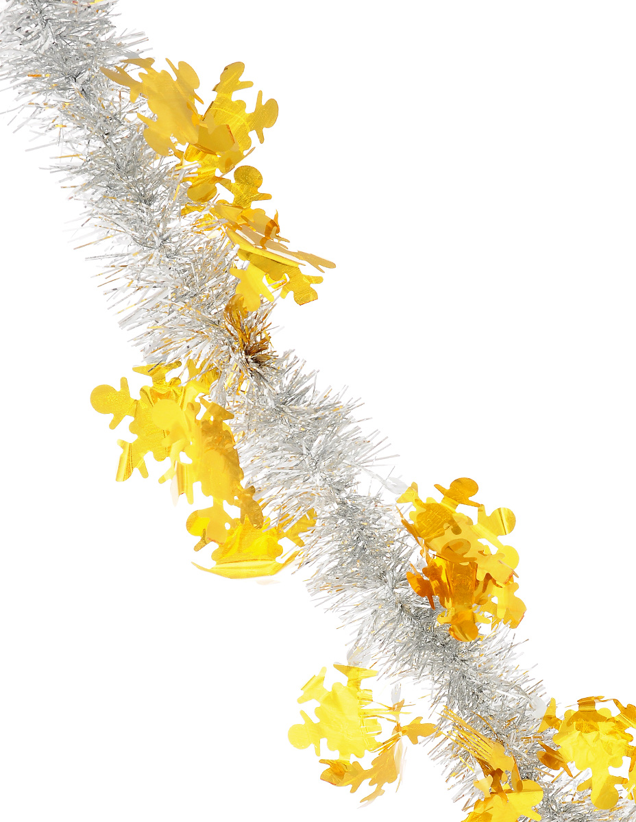 """Мишура новогодняя """"Sima-land"""", цвет: желтый, серебристый, диаметр 5 см, длина 2 м. 825982"""