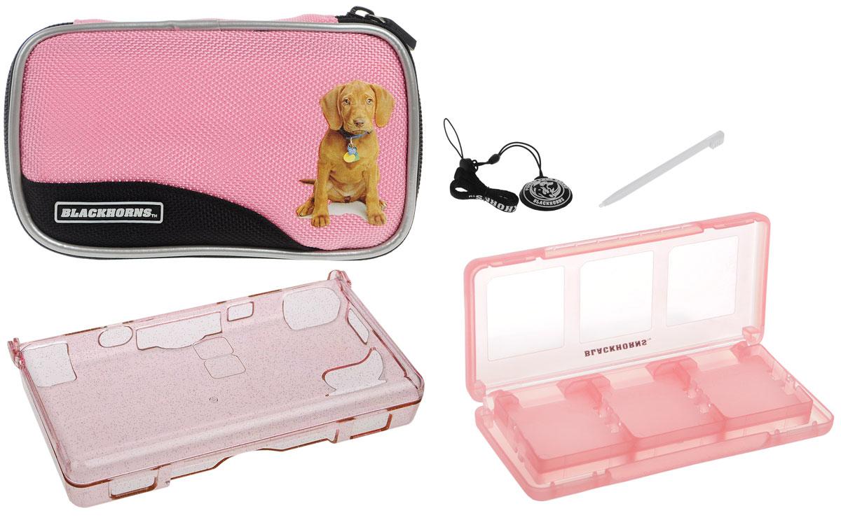 лучшая цена Набор 6 в 1 для приставки DS Lite, цвет: розовый