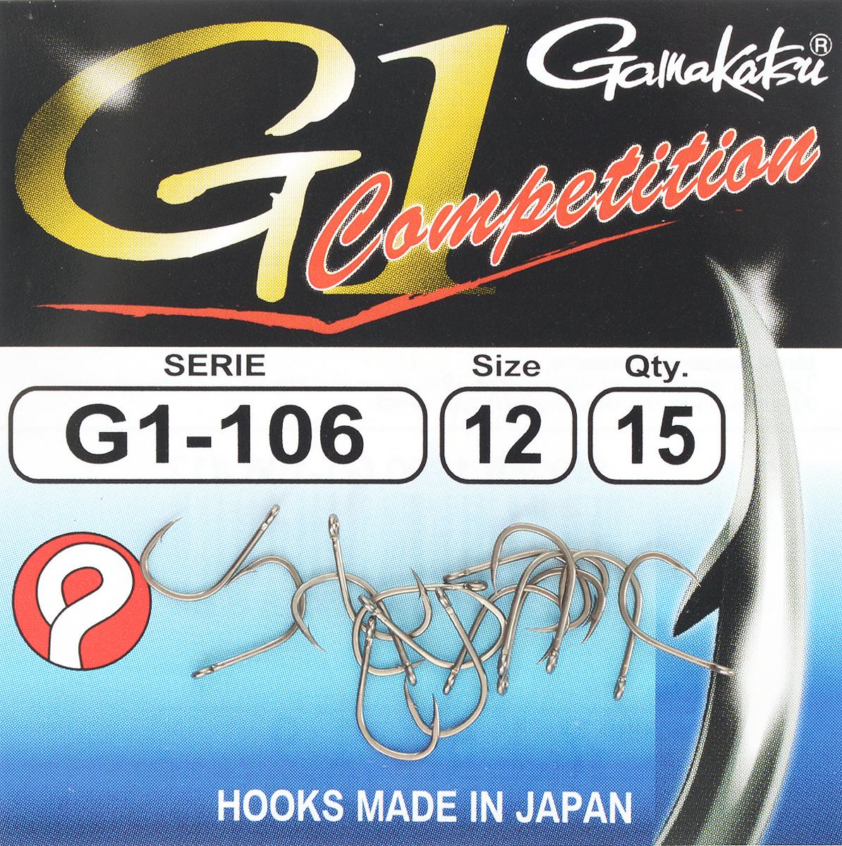 Набор крючков Gamakatsu G-1 Competition, размер №12, 15 шт