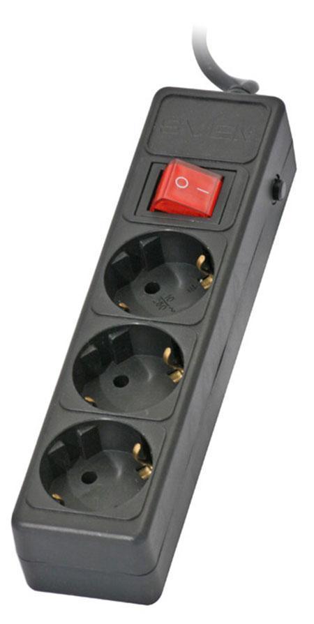Sven Optima Base 3 розетки, Black сетевой фильтр (5 м)
