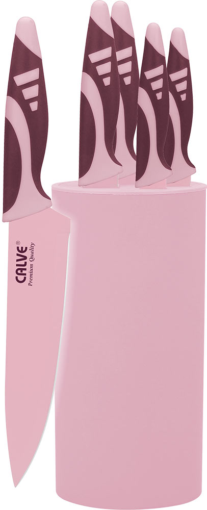 Набор ножей Calve, с подставкой, 6 предметов. CL-3128 набор ножей calve цвет оранжевый белый 3 предмета cl 3106