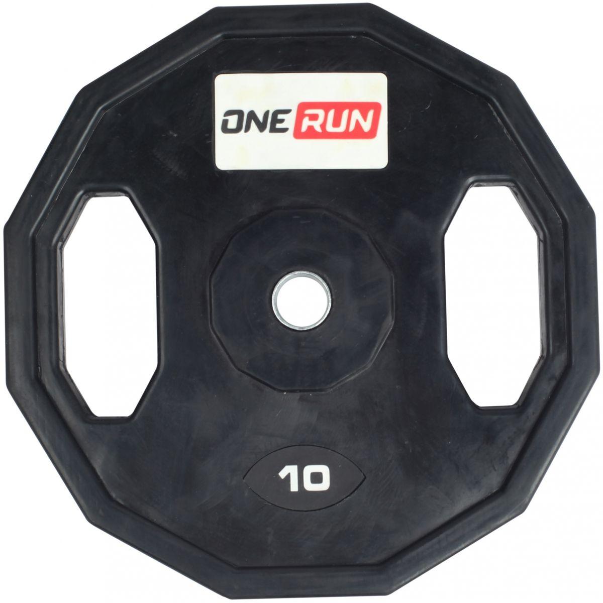Диск обрезиненный OneRun 10 кг с хватами, диаметр 26 мм, черный, 471-8358 цены