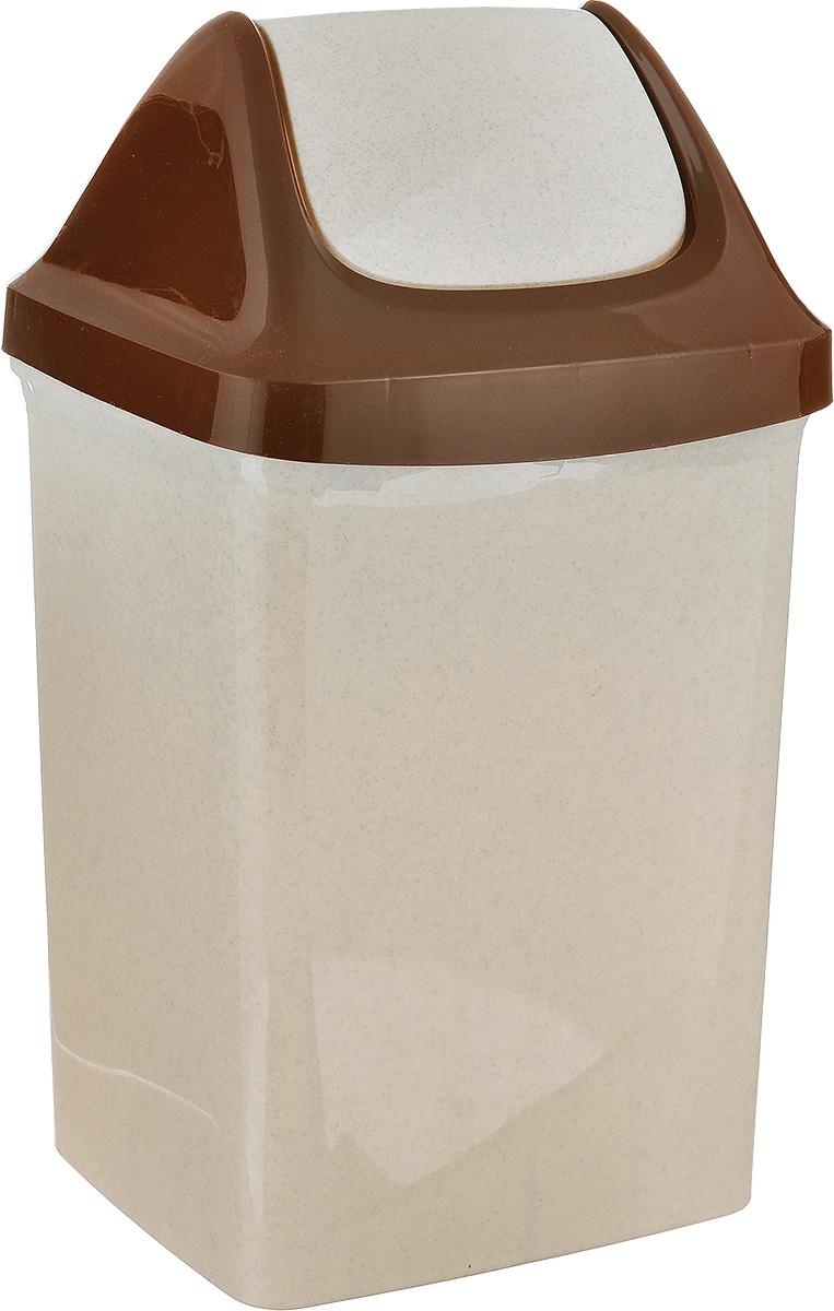Контейнер для мусора Idea Свинг, цвет: бежевый, коричневый, 9 л контейнер для мусора idea хапс цвет коричневый мрамор 15 л