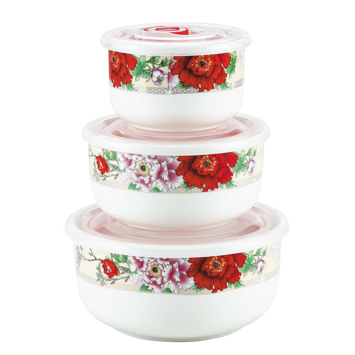 Набор контейнеров Bekker Красные цветы, 3 шт