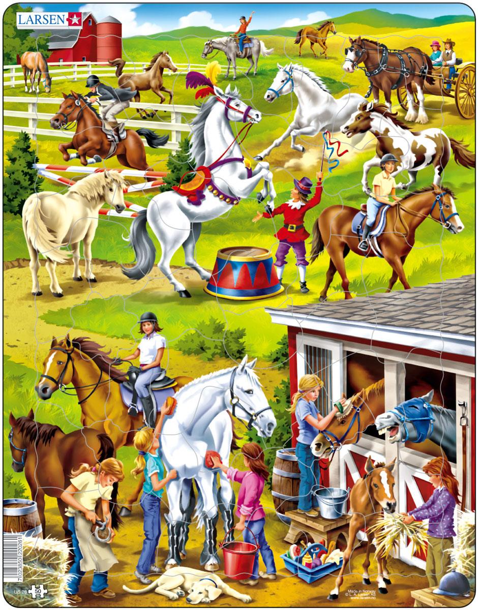 Larsen Пазл ЛошадиUS26Пазлы Ларсен направлены, прежде всего, на обучение. Пазл Larsen Лошади это лучший подарок для истинных любителей лошадей. На яркой картинке пазла ребенок увидит лошадей, которые скачут через препятствия, бегают в загоне, тренируют цирковые номера, отдыхают в конюшне. Выполненные из высококачественного трехслойного картона, пазлы не деформируются и легко берутся в руки. Все пазлы снабжены специальной подложкой, благодаря чему их удобно собирать. Размер готового пазла: 36,5 см х 28,5 см. Рекомендуем!