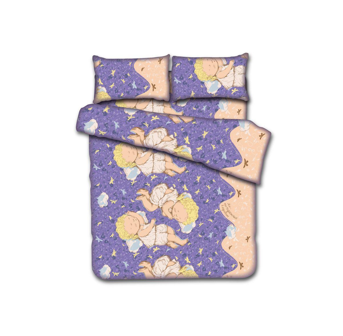 """Комплект белья Коллекция """"Gapchinska """"Мы, как пирожные в коробочке…"""", 1,5-спальный, наволочки 50x70, цвет: фиолетовый"""