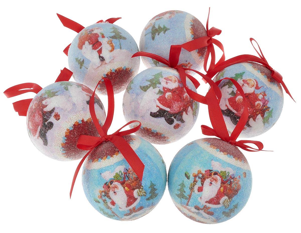 """Набор новогодних подвесных украшений Winter Wings """"Дед Мороз с подарками"""", диаметр 7,5 см, 7 шт. N180944"""