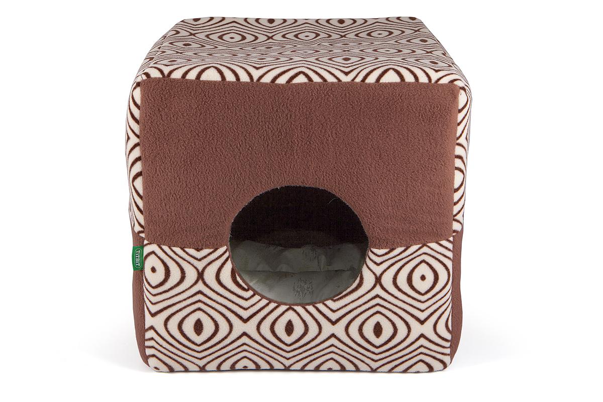 Домик для кошек и собак Titbit, коричневый, бежевый, 38 х 38 х 38 см домик для кошек и собак titbit с игрушкой цвет рыжий 43 см х 43 см х 40 см