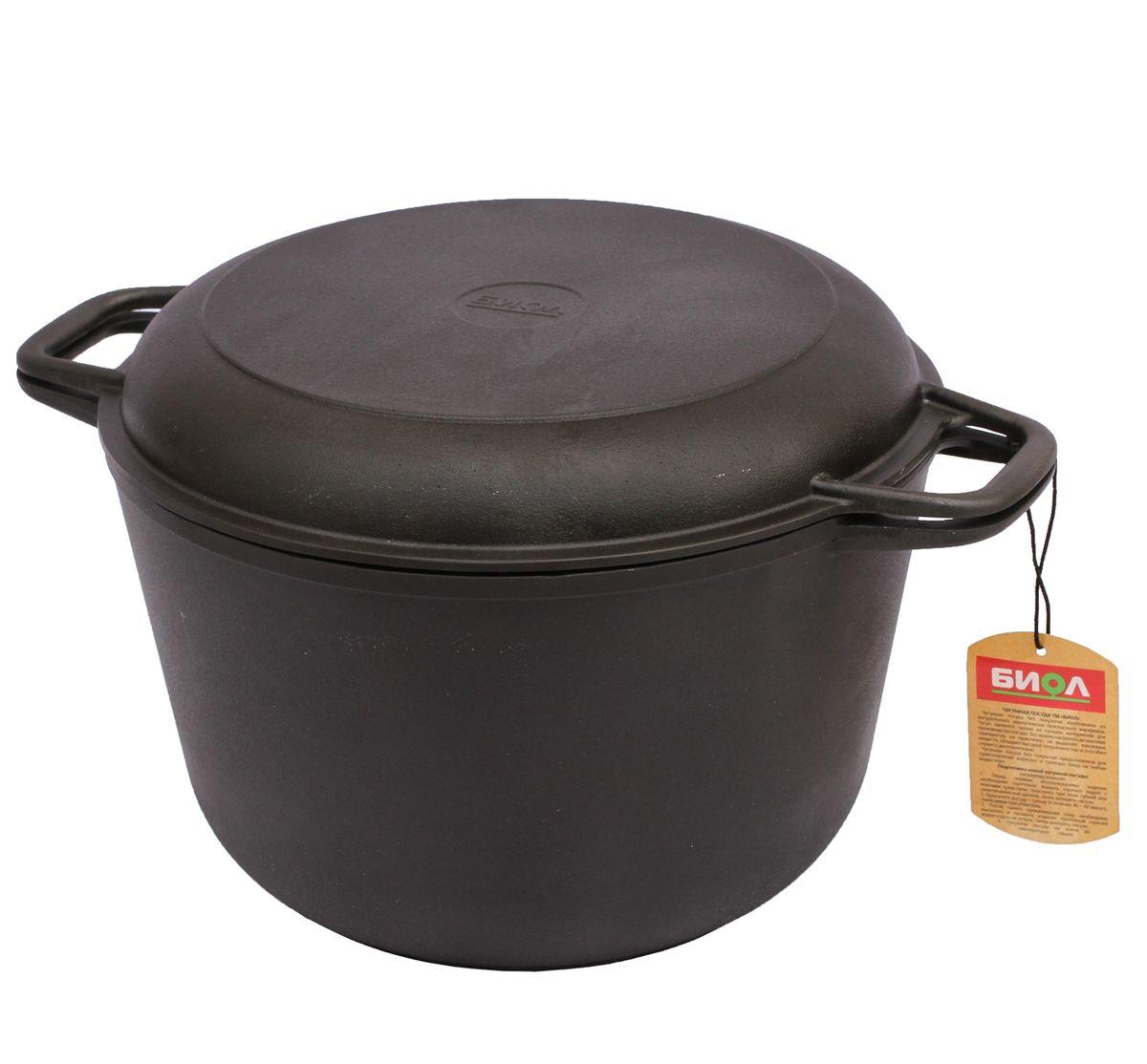 Кастрюля Биол, чугунная, с крышкой-сковородой, 3 л кастрюля с крышкой сковородой биол 4 л 0204