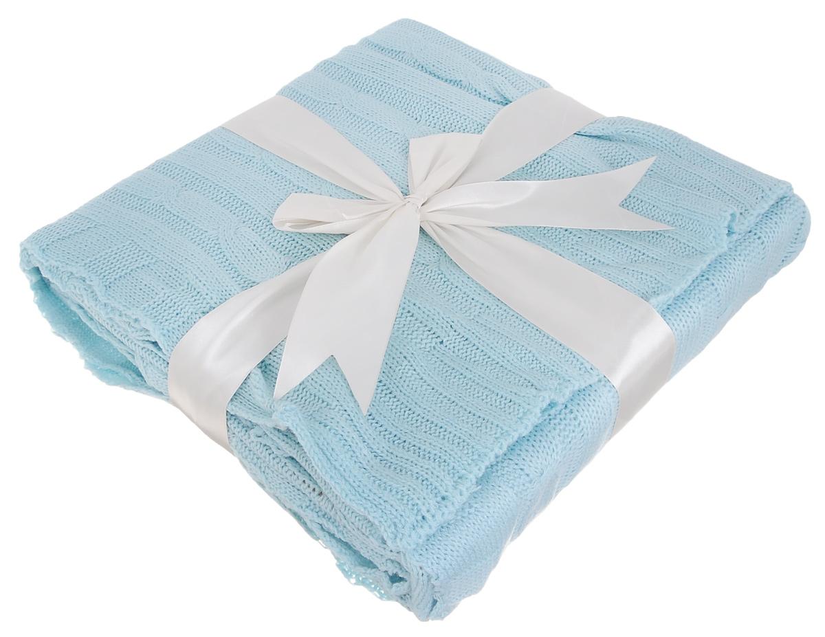 Плед вязаный Mona Liza Classic Monet, цвет: голубой, 140 х 180 см плед детский mona liza mona liza плед monet classic 140х180 см серый