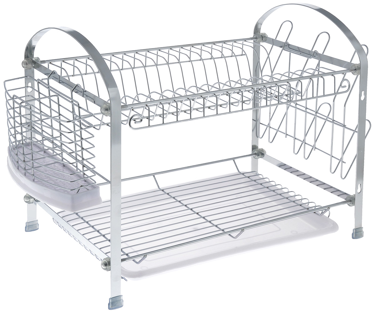"Сушилка для посуды ""Mayer & Boch"", двухъярусная, с поддоном, 46 см х 24,5 см х 38 см"