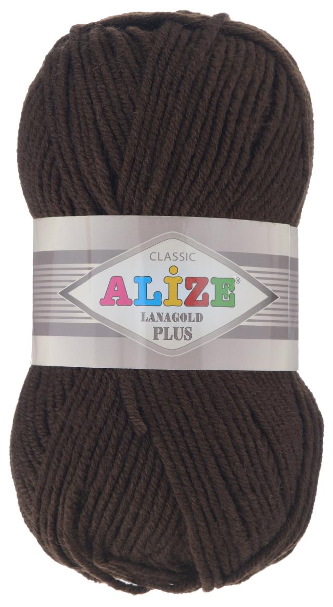 Пряжа для вязания Alize Lana Gold Plus, цвет: темно-коричневый (26), 140 м, 100 г, 5 шт695158_26Пряжа Alize Lana Gold Plus - это полюбившаяся всем рукодельницам полушерстяная пряжа, которая прекрасно подойдет для вязания теплых вещей: уютных свитеров и мягких кофт, удобных и стильных платьев и сарафанов, ярких шарфов и шапочек. Сбалансированный состав пряжи Alize Lana Gold Plus позволяет получать мягкие, приятные к телу вещи, хранящие тепло натуральной шерсти и обладающие практичностью акриловой нити. Вязать из полушерстяной теплой пряжи легко и приятно - упругая, плотная нить красиво ложится в любой узор, не слоится и мягко скользит по спицам. Приятная цветовая гамма порадует любителей насыщенных, глубоких оттенков, которые так актуальны зимой. Легкая, мягкая, комфортная. Нить ровная, очень пышная, не линяет и не выгорает, подходит для вязания трикотажных изделий детям и взрослым. Изделия из этой пряжи получаются мягкие, очень легкие, износостойкие. Рекомендуются спицы: 5-7 мм. Комплектация: 5 мотков. Состав: 51% акрил, 49% шерсть.