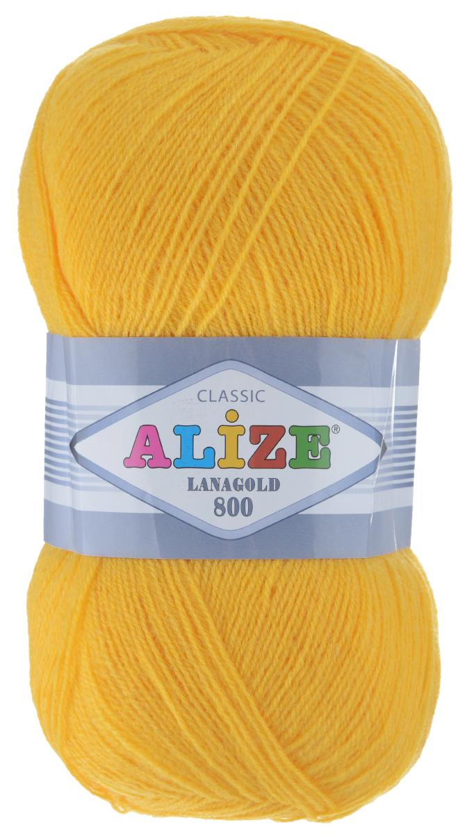 """Пряжа для вязания Alize """"Lanagold 800"""", цвет: желтый (216), 800 м, 100 г, 5 шт"""