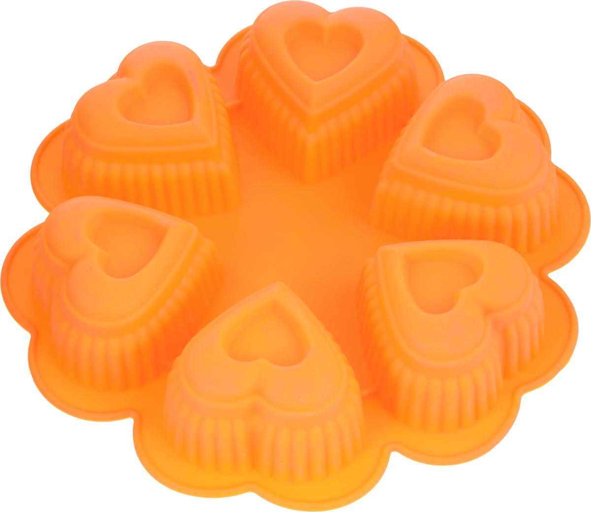 Форма для выпечки Marmiton Сердце, цвет: оранжевый, 25,5 х 25,5 х 5 см, 6 ячеек набор форм для запекания marmiton 22 х 11 5 х 6 см 5 шт