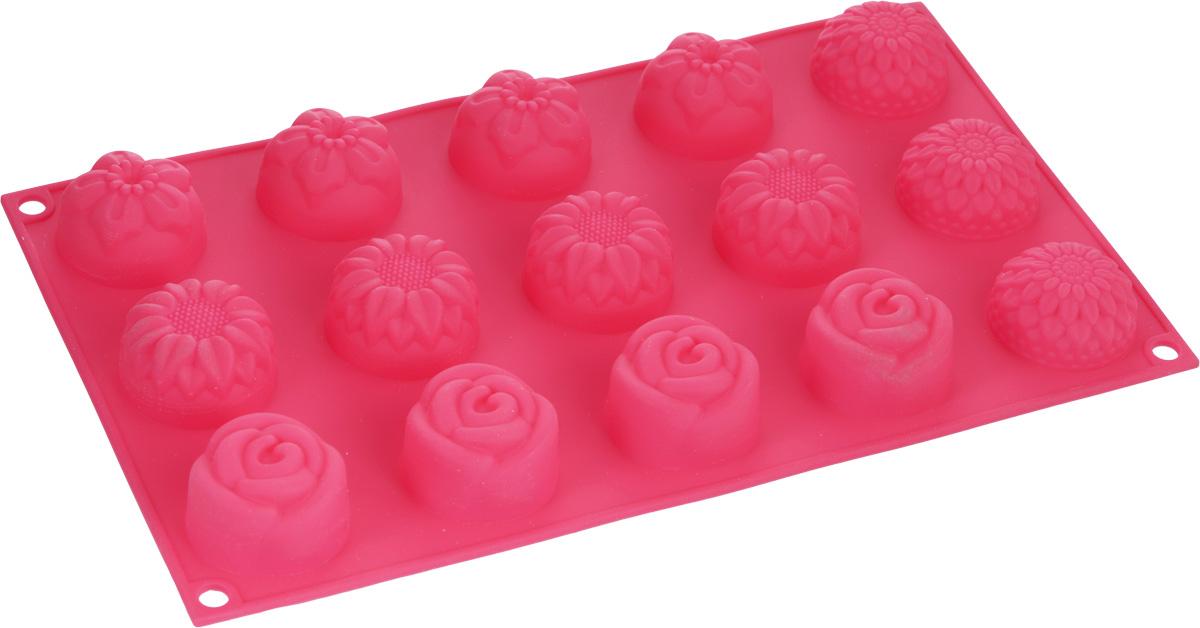 Форма для выпечки Marmiton Цветочки, цвет в ассортименте, 29,5 х 17,5 2,5 см, 15 ячеек